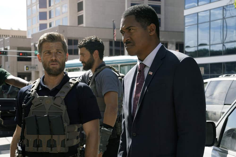 "THE BRAVE -- ""Enhanced Interrogation"" Episode 105 -- Pictured: (l-r) Mike Vogel as Captain Adam Dalton, Noah Mills as Sergeant Joseph ""McG"" McGuire -- (Photo by: Ursula Coyote/NBC)"