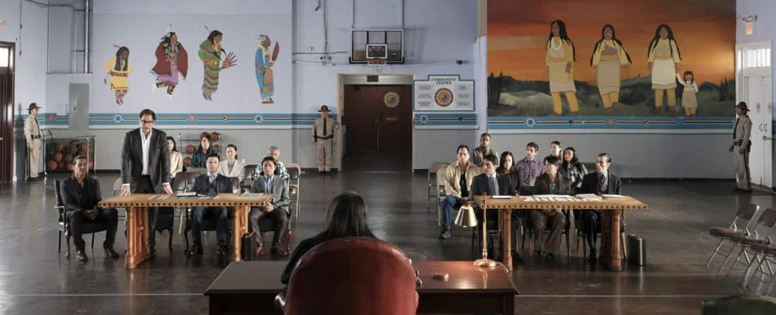"""""""Play the Hand You're Dealt""""-- Bull must navigate the unfamiliar rules of a Native American tribal court when he agrees to help his college roommate, who has been arrested for murder at the reservation he lives on, on BULL, Tuesday, Oct 24 (9:00-10:00 PM, ET/PT) on the CBS Television Network. Pictured L-R: Nathaniel Arcand as Makya """"Mack"""" Begay, Michael Weatherly as Dr. Jason Bull, Freddy Rodriguez as Benny Colón, and Alex Neumeier as Taima Peshlakai Photo: Jojo Whilden/CBS ©2017 CBS Broadcasting, Inc. All Rights Reserved"""