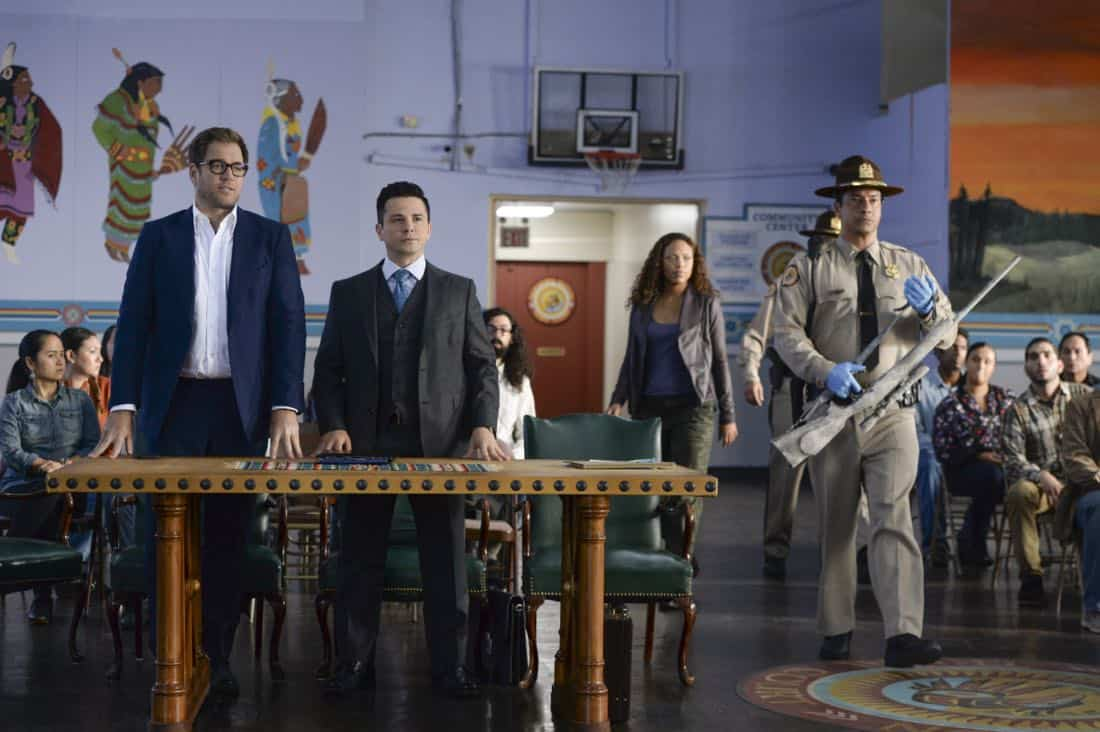 """""""Play the Hand You're Dealt""""--Bull must navigate the unfamiliar rules of a Native American tribal court when he agrees to help his college roommate, who has been arrested for murder at the reservation he lives on, on BULL, Tuesday, Oct 24 (9:00-10:00 PM, ET/PT) on the CBS Television Network. Pictured L-R: Michael Weatherly as Dr. Jason Bull, Freddy Rodriguez as Benny Colón, and Jaime Lee Kirchner as Danny James Photo: Jojo Whilden/CBS ©2017 CBS Broadcasting, Inc. All Rights Reserved"""