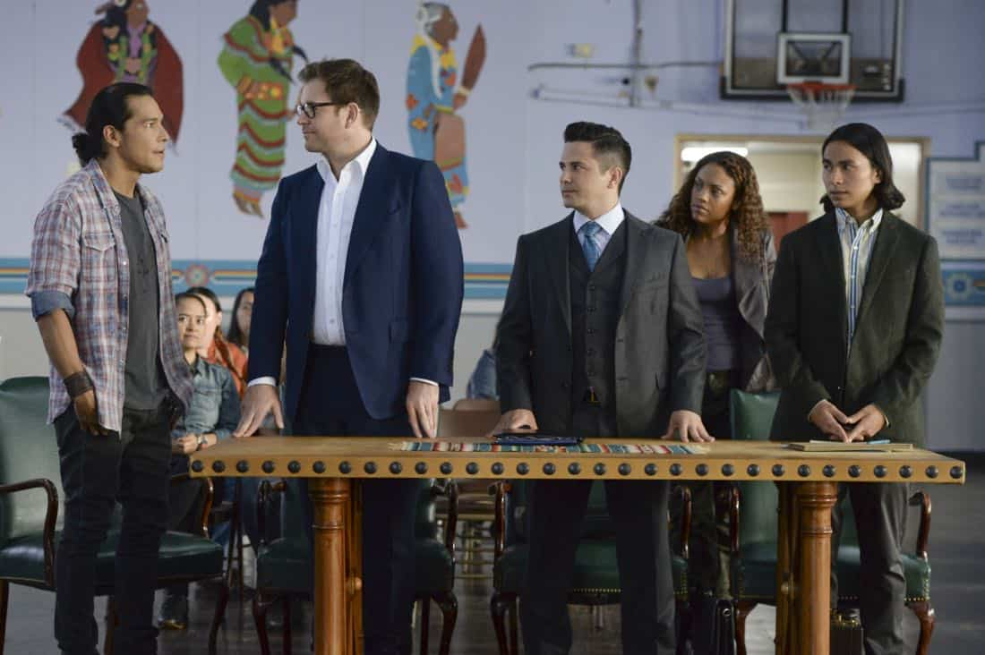 """Play the Hand You're Dealt""--Bull must navigate the unfamiliar rules of a Native American tribal court when he agrees to help his college roommate, who has been arrested for murder at the reservation he lives on, on BULL, Tuesday, Oct 24 (9:00-10:00 PM, ET/PT) on the CBS Television Network. Pictured L-R: Nathaniel Arcand as Makya ""Mack"" Begay, Michael Weatherly as Dr. Jason Bull, Freddy Rodriguez as Benny Colón, Jaime Lee Kirchner as Danny James, and Alex Neumeier as Taima Peshlakai Photo: Jojo Whilden/CBS ©2017 CBS Broadcasting, Inc. All Rights Reserved"