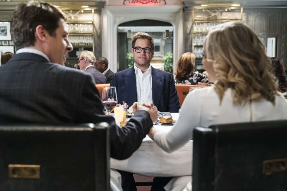 """Play the Hand You're Dealt""-- Bull must navigate the unfamiliar rules of a Native American tribal court when he agrees to help his college roommate, who has been arrested for murder at the reservation he lives on, on BULL, Tuesday, Oct 24 (9:00-10:00 PM, ET/PT) on the CBS Television Network. Pictured L-R: Gary Wilmes as Kyle Wilkinson, Michael Weatherly as Dr. Jason Bull, and Geneva Carr as Marissa Morgan Photo: David M. Russell/CBS ©2017 CBS Broadcasting, Inc. All Rights Reserved"
