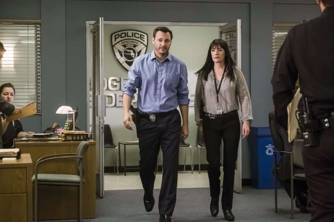 """Lucky Strikes"" -- When Garcia experiences anxiety over a case that's personal to her from her past, Morgan visits to lend emotional support, on CRIMINAL MINDS, Wednesday, Oct. 25 (10:00-11:00 PM, ET/PT) on the CBS Television Network.  Pictured: Mark Gantt (Detective Alex Russ), Paget Brewster (Emily Prentiss)   Photo: Darren Michaels/CBS ©2017 CBS Broadcasting, Inc. All Rights Reserved"