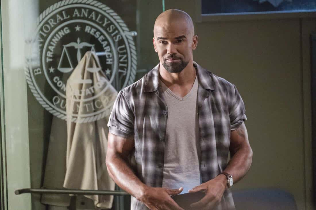 """Lucky Strikes"" -- When Garcia experiences anxiety over a case that's personal to her from her past, Morgan visits to lend emotional support, on CRIMINAL MINDS, Wednesday, Oct. 25 (10:00-11:00 PM, ET/PT) on the CBS Television Network.  Pictured: Shemar Moore (Derek Morgan)   Photo: Darren Michaels/CBS ©2017 CBS Broadcasting, Inc. All Rights Reserved"