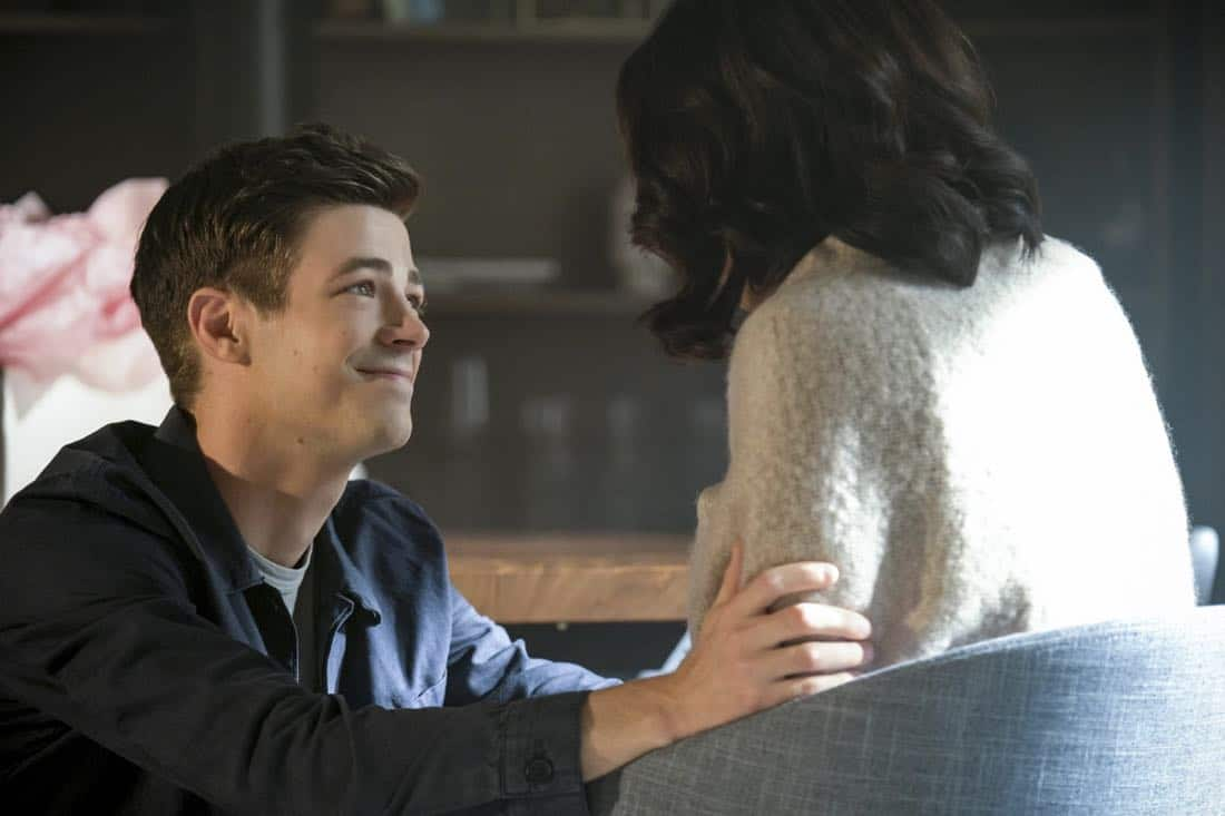 "The Flash -- ""Luck Be a Lady"" -- Image Number: FLA403a_0025b.jpg -- Pictured (L-R): Grant Gustin as Barry Allen and Candice Patton as Iris West -- Photo: Robert Falconer/The CW -- © 2017 The CW Network, LLC. All rights reserved."