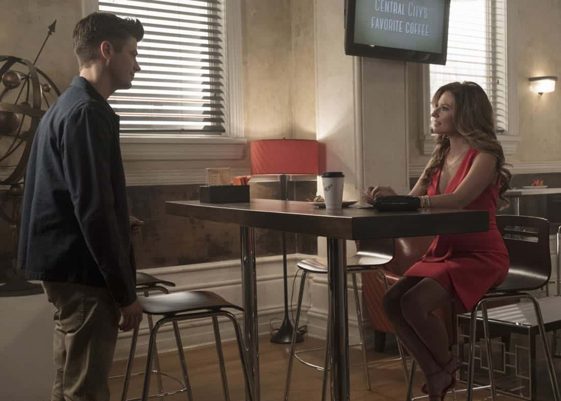 "The Flash -- ""Luck Be a Lady"" -- Image Number: FLA403b_0127.jpg -- Pictured (L-R): Grant Gustin as Barry Allen and Sugar ñ Lyn Beard as Becky/Hazard ñ Photo: Katie Yu/The CW -- © 2017 The CW Network, LLC. All rights reserved."
