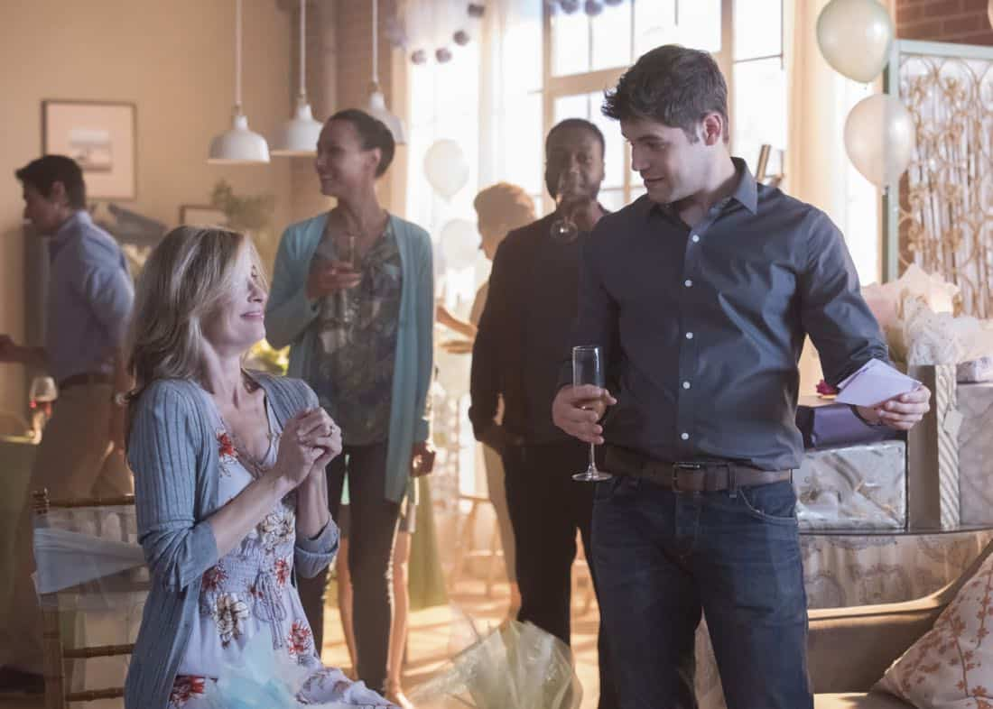 "Supergirl -- ""Far From The Tree"" -- SPG303a_0331.jpg -- Pictured (L-R): Helen Slater as Eliza Danvers and Jeremy Jordan as Winn Schott -- Photo: Dean Buscher/The CW -- © 2017 The CW Network, LLC. All Rights Reserved"