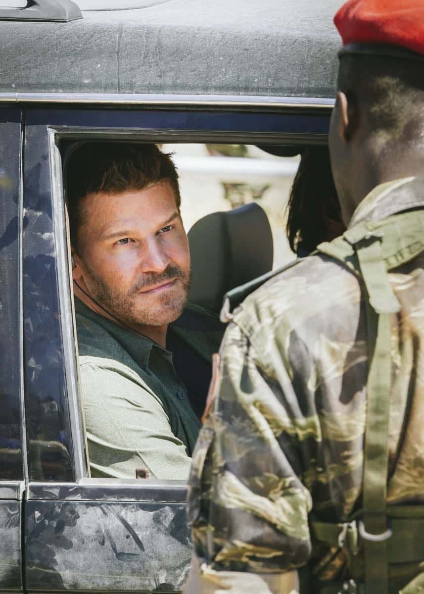 """Collapse"" -- Jason and the SEAL Team must protect the American Embassy in South Sudan when the ambassador refuses to evacuate as the country becomes increasingly unstable. Also, Clay and Stella take their relationship to the next level, on SEAL TEAM, Wednesday, Oct. 25 (9:00-10:00 PM, ET/PT) on the CBS Television Network. Pictured: David Boreanaz as Jason Hayes. Photo: Erik Voake/CBS ©2017 CBS Broadcasting, Inc. All Rights Reserved"