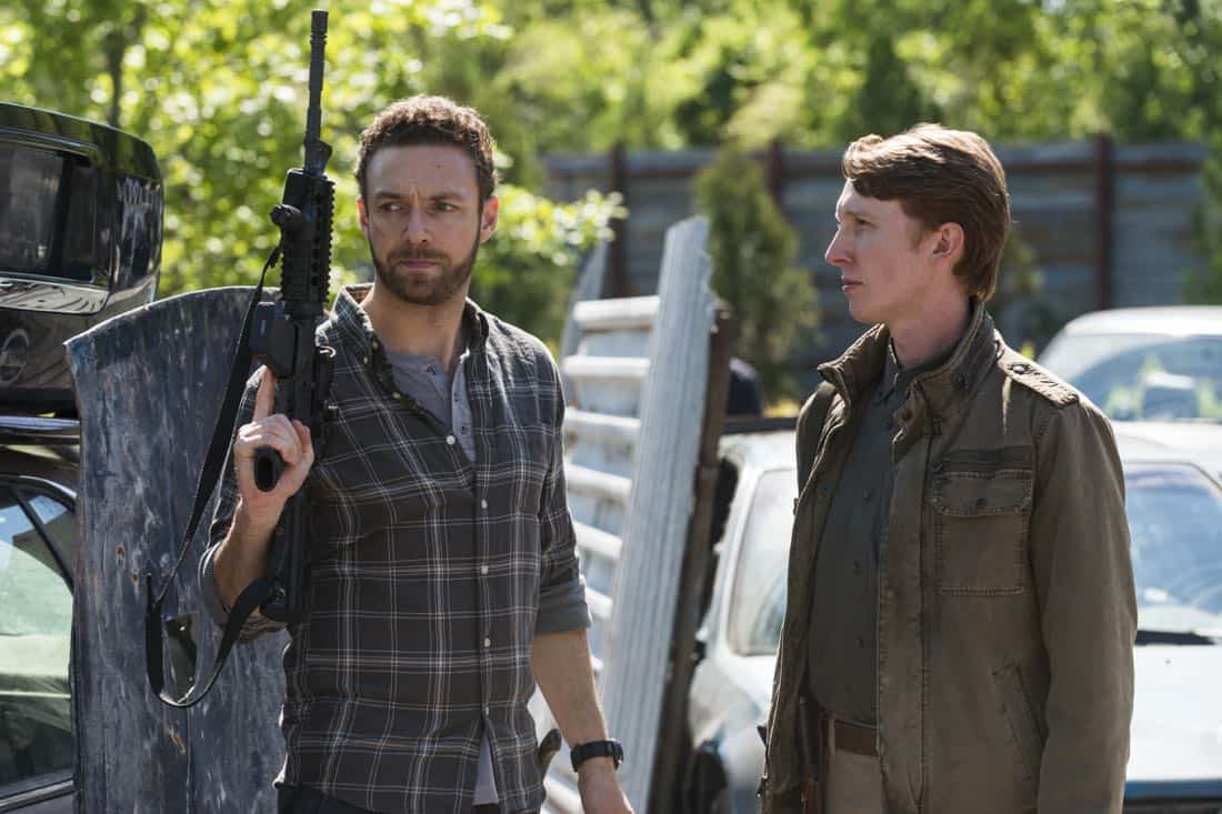 Ross Marquand as Aaron, Jordan Woods-Robinson as Eric - The Walking Dead _ Season 8, Episode 1 - Photo Credit: Gene Page/AMC