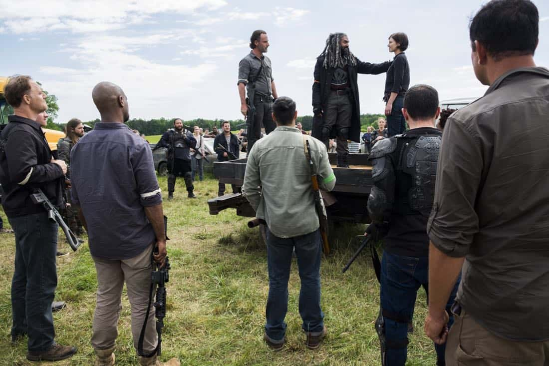 Tom Payne as Paul 'Jesus' Rovia, Andrew Lincoln as Rick Grimes, Khary Payton as Ezekiel, Ross Marquand as Aaron, Lauren Cohan as Maggie Greene - The Walking Dead _ Season 8, Episode 1 - Photo Credit: Gene Page/AMC