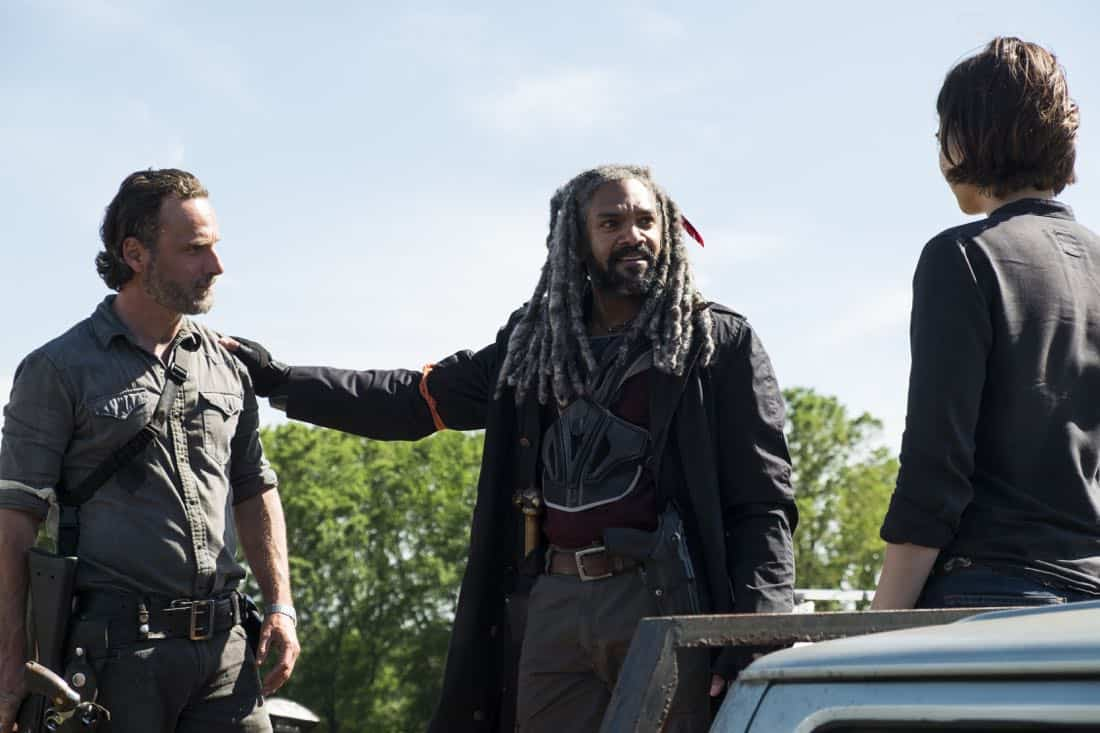 Andrew Lincoln as Rick Grimes, Khary Payton as Ezekiel, Lauren Cohan as Maggie Greene - The Walking Dead _ Season 8, Episode 1 - Photo Credit: Gene Page/AMC
