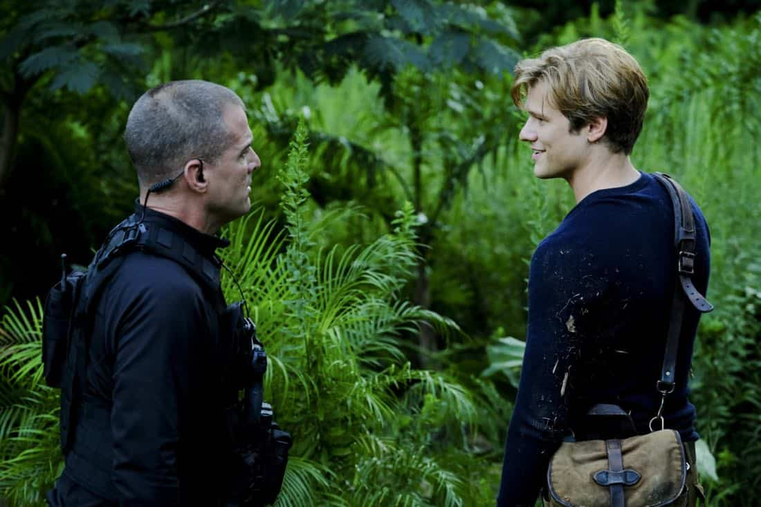 """Skull + Electromagnet"" -- The team is pulled away from their Halloween plans when they head into the dreaded Bermuda Triangle to retrieve the Vice President's son after his plane goes down with a mysterious prisoner on board, on MACGYVER, Friday, Oct. 27 (9:00-10:00 PM, ET/PT) on the CBS Television Network. Pictured:   George Eads, Lucas Till.  Photo: Guy D'Alema/CBS ©2017 CBS Broadcasting, Inc. All Rights Reserved"