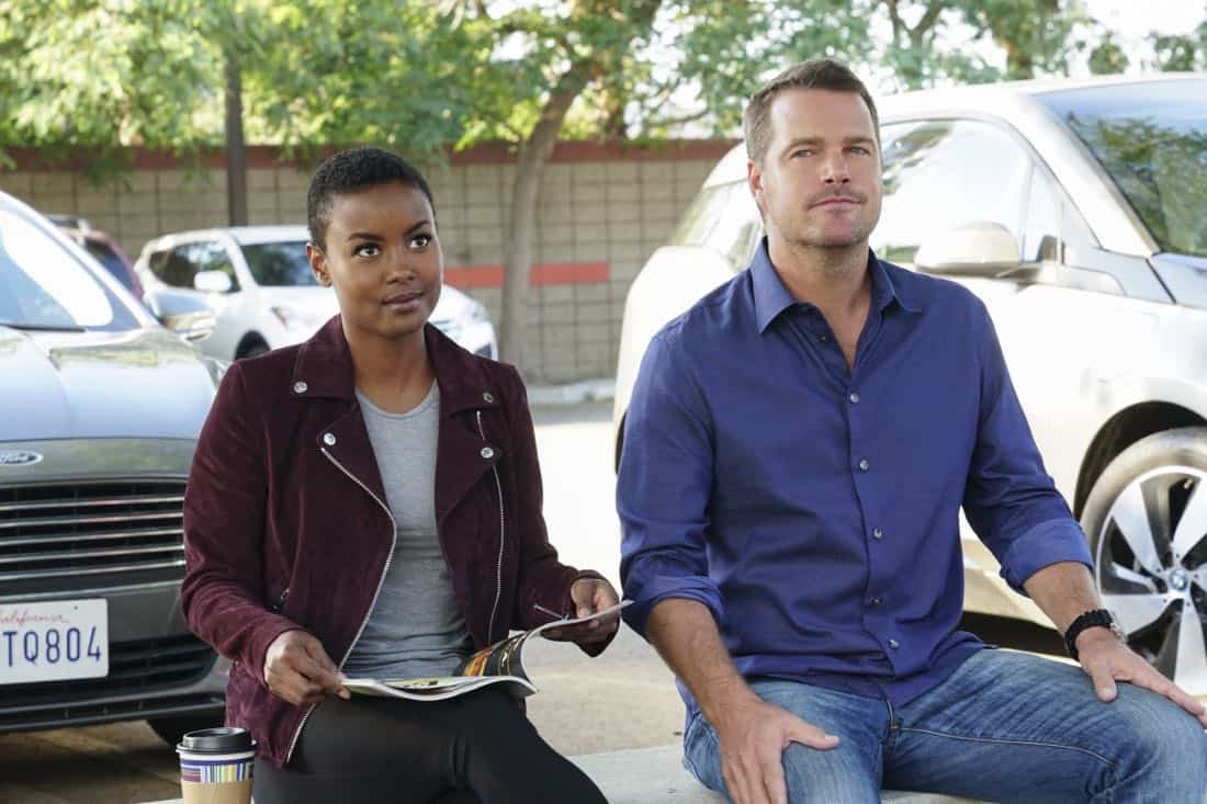 """Mountebank"" -- Pictured: Andrea Bordeaux (NCIS Special Agent Harley Hidoko) and Chris O'Donnell (Special Agent G. Callen). Sam goes undercover as a day trader after a prominent investment banker with ties to a Russian oligarch is murdered. Also, one of Callen's aliases is the victim of credit card theft, and Mosley is concerned it signals something bigger, on NCIS: LOS ANGELES, Sunday, Oct. 29 (9:00-10:00 PM, ET/PT) on the CBS Television Network. Photo: Monty Brinton/CBS ©2017 CBS Broadcasting, Inc. All Rights Reserved."