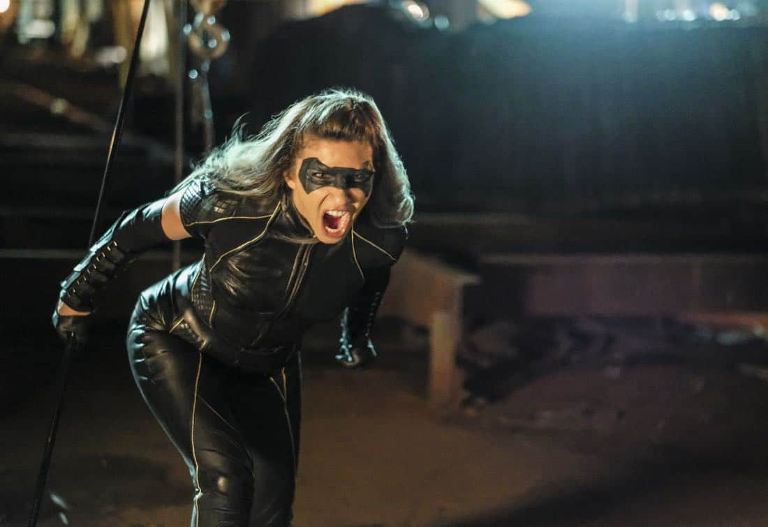 "Arrow -- ""Tribute"" -- Image AR602b_0185b.jpg -- Pictured: Juliana Harkavy as Dinah Drake/Black Canary - Photo: Robert Falconer/The CW -- © 2017 The CW Network, LLC. All Rights Reserved."