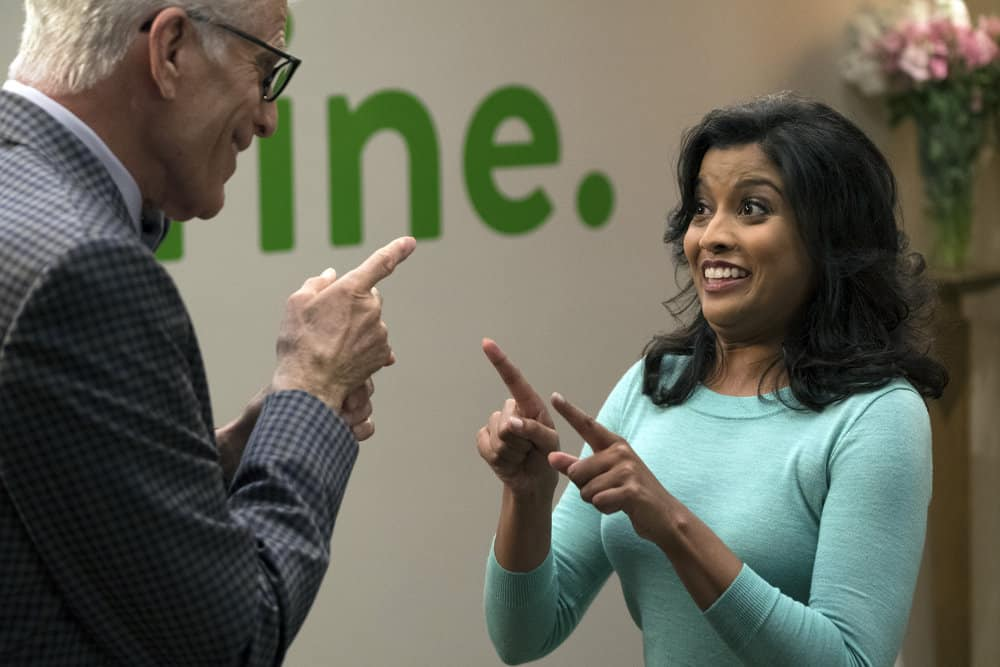 "THE GOOD PLACE -- ""Janet and Michael"" Episode 207 -- Pictured: (l-r) Ted Danson as Michael, Tiya Sircar as Vicky -- (Photo by: Colleen Hayes/NBC)"