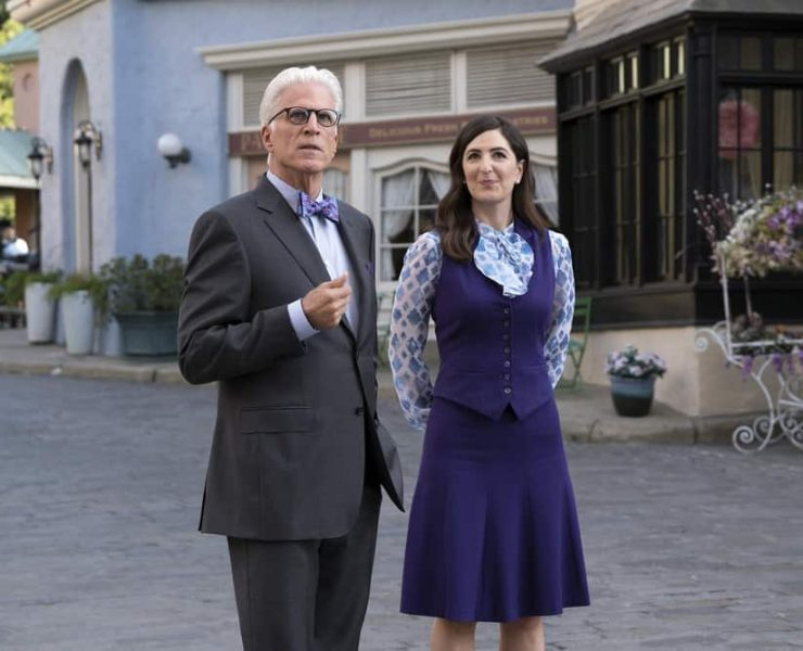 """THE GOOD PLACE -- """"Janet and Michael"""" Episode 207 -- Pictured: (l-r) Ted Danson as Michael, D'Arcy Carden as Janet -- (Photo by: Colleen Hayes/NBC)"""