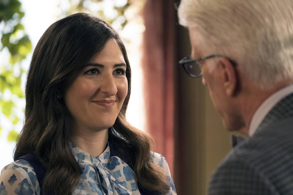 "THE GOOD PLACE -- ""Janet and Michael"" Episode 207 -- Pictured: (l-r) D'Arcy Carden as Janet, Ted Danson as Michael -- (Photo by: Colleen Hayes/NBC)"
