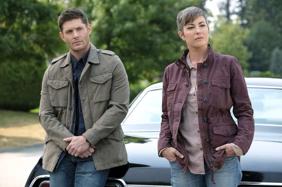 "Supernatural -- ""Patience"" -- Image Number: SN1303a_0044.jpg -- Pictured (L-R): Jensen Ackles as Dean and Kim Rhodes as Jody Mills -- Photo: Bettina Strauss/The CW -- © 2017 The CW Network, LLC All Rights Reserved."