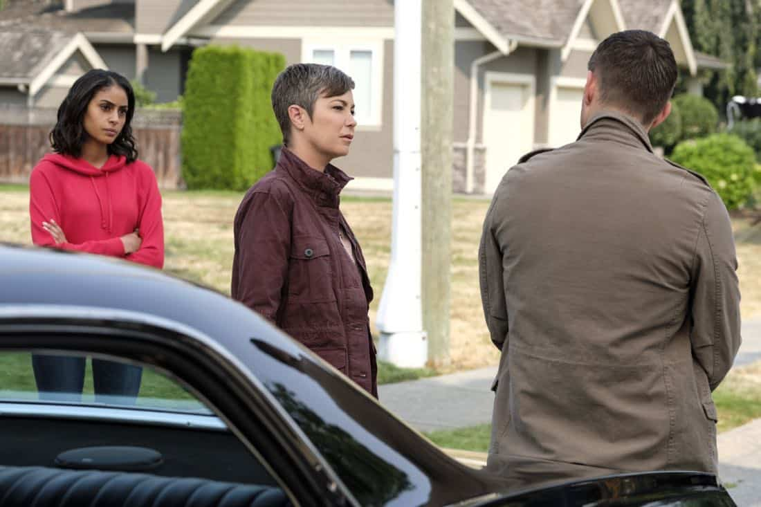 "Supernatural -- ""Patience"" -- Image Number: SN1303a_0139b.jpg -- Pictured (L-R): Clark Backo as Patience, Kim Rhodes as Jody Mills, Jensen Ackles as Dean -- Photo: Bettina Strauss/The CW -- © 2017 The CW Network, LLC All Rights Reserved."