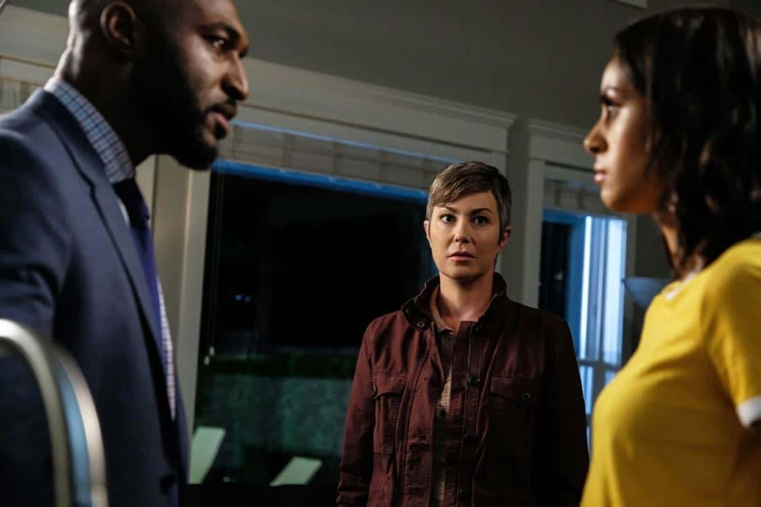 "Supernatural -- ""Patience"" -- Image Number: SN1303a_0548b.jpg -- Pictured (L-R): Adrian Holmes as James, Kim Rhodes as Jody Mills and Clark Backo as Patience -- Photo: Bettina Strauss/The CW -- © 2017 The CW Network, LLC All Rights Reserved."