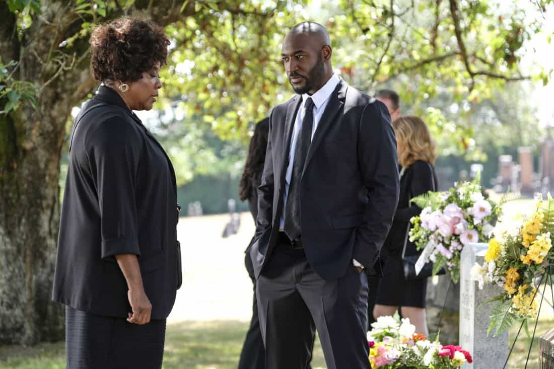 "Supernatural -- ""Patience"" -- Image Number: SN1303b_0017b.jpg -- Pictured (L-R): Loretta Devine as Missouri and Adrian Holmes as James -- Photo: Bettina Strauss/The CW -- © 2017 The CW Network, LLC All Rights Reserved."