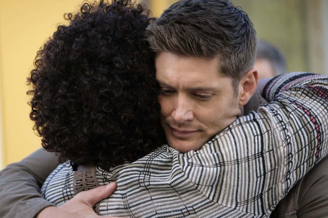 "Supernatural -- ""Patience"" -- Image Number: SN1303b_0263b.jpg -- Pictured (L-R): Loretta Devine as Missouri and Jensen Ackles as Dean -- Photo: Bettina Strauss/The CW -- © 2017 The CW Network, LLC All Rights Reserved."