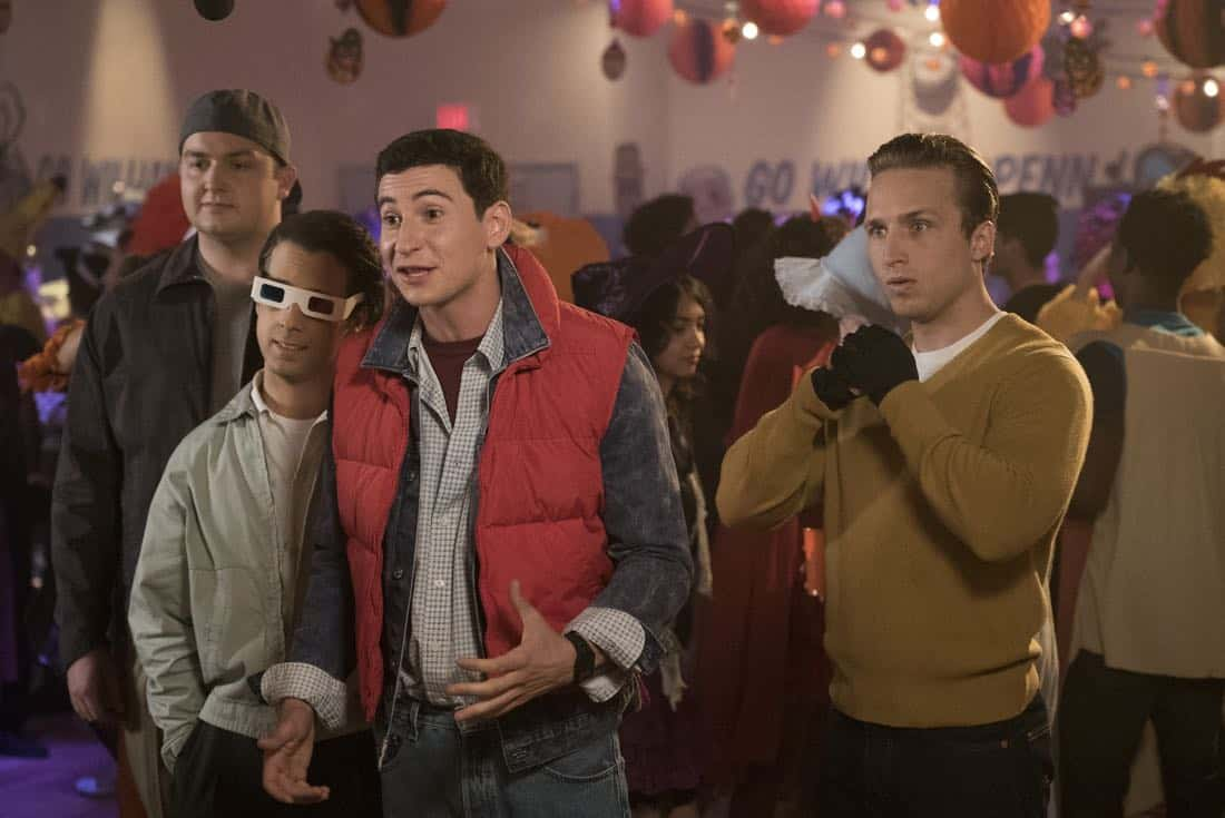 "THE GOLDBERGS - ""Jackie Likes Star Trek"" - After Adam and Jackie disagree over their Halloween costumes, Murray teaches Adam to be a shell of a man to keep Jackie happy; however, it backfires quickly also causing an issue for Murray and Beverly. But they soon all learn to compromise in their own special way, in the Halloween and 100th episode of ""The Goldbergs,"" WEDNESDAY, OCTOBER 25 (8:00-8:30 p.m. EDT), on The ABC Television Network. (ABC/Kelsey McNeal) NOAH MUNCK, MATT BUSH, SAM LERNER, SHAYNE TOPP"