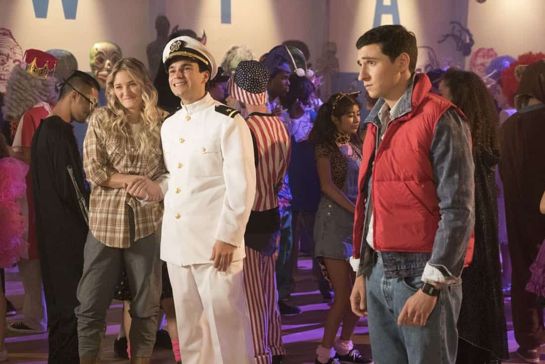 "THE GOLDBERGS - ""Jackie Likes Star Trek"" - After Adam and Jackie disagree over their Halloween costumes, Murray teaches Adam to be a shell of a man to keep Jackie happy; however, it backfires quickly also causing an issue for Murray and Beverly. But they soon all learn to compromise in their own special way, in the Halloween and 100th episode of ""The Goldbergs,"" WEDNESDAY, OCTOBER 25 (8:00-8:30 p.m. EDT), on The ABC Television Network. (ABC/Kelsey McNeal) AJ MICHALKA, TROY GENTILE, SAM LERNER"