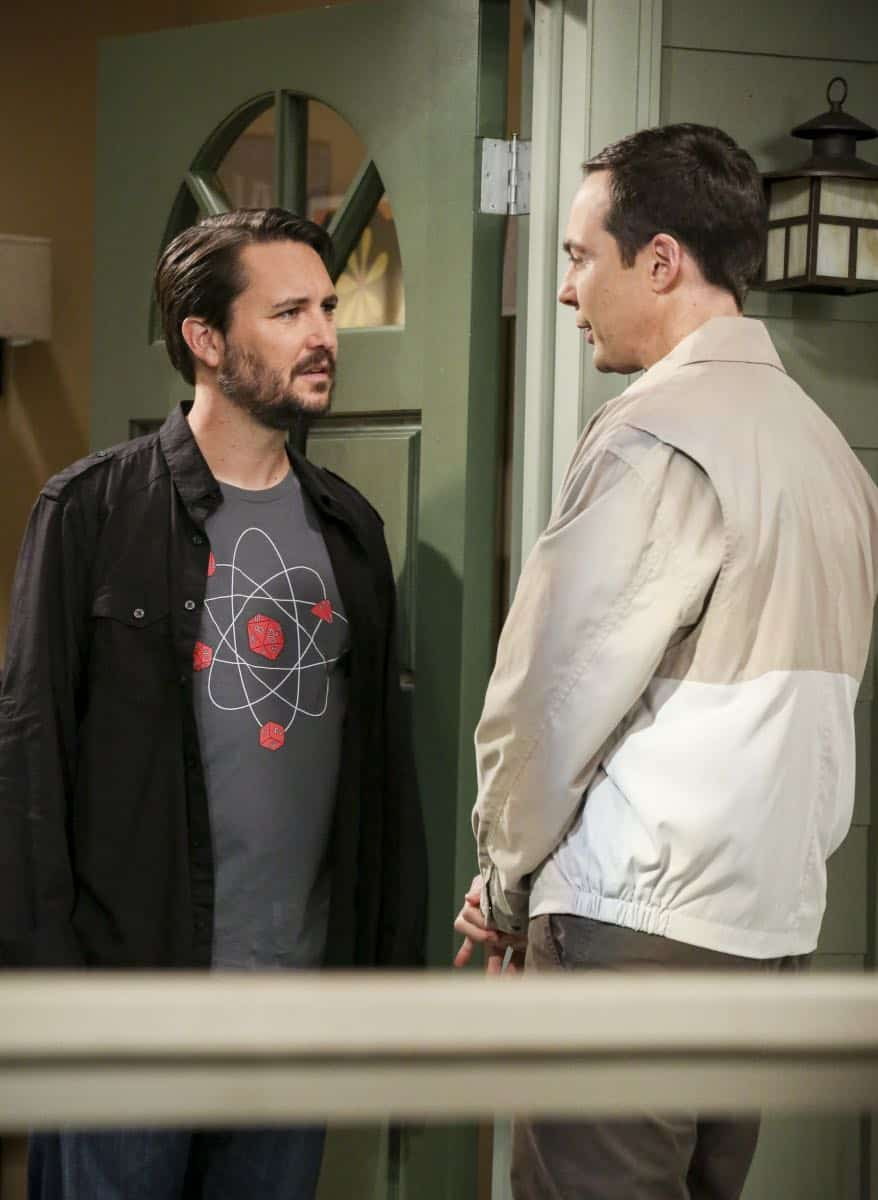 """The Proton Regeneration"" -- Pictured: Wil Wheaton (Himself) and Sheldon Cooper (Jim Parsons). Sheldon goes head-to-head with Wil Wheaton for the role of the new Professor Proton. Also, Penny steps in to take care of Halley when Bernadette and Wolowitz both wind up on bed rest, when THE BIG BANG THEORY moves to its regular time period, Thursday, Nov. 2 (8:00-8:31 PM, ET/PT), on the CBS Television Network. Photo: Michael Yarish/CBS ©2017 CBS Broadcasting, Inc. All Rights Reserved."