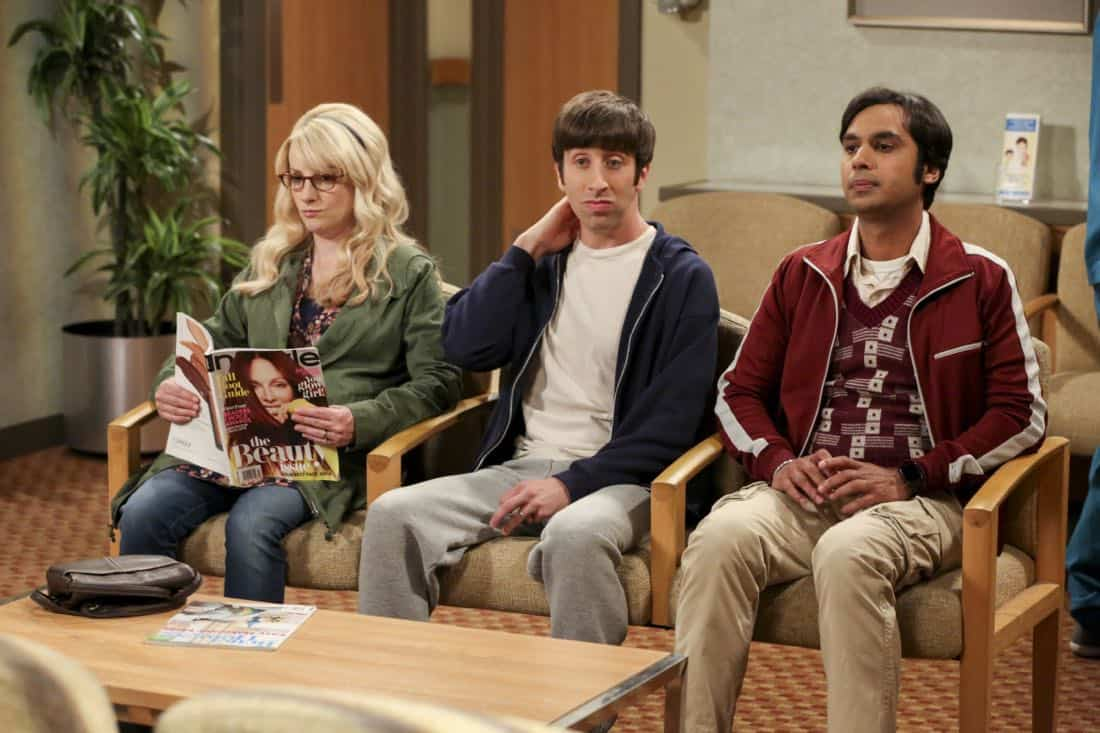 """The Proton Regeneration"" -- Pictured: Bernadette (Melissa Rauch), Howard Wolowitz (Simon Helberg) and Rajesh Koothrappali (Kunal Nayyar). Sheldon goes head-to-head with Wil Wheaton for the role of the new Professor Proton. Also, Penny steps in to take care of Halley when Bernadette and Wolowitz both wind up on bed rest, when THE BIG BANG THEORY moves to its regular time period, Thursday, Nov. 2 (8:00-8:31 PM, ET/PT), on the CBS Television Network. Photo: Michael Yarish/CBS ©2017 CBS Broadcasting, Inc. All Rights Reserved."