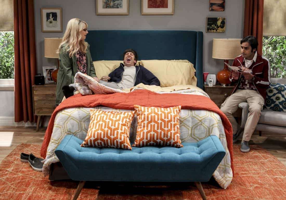 """The Proton Regeneration"" -- Pictured: Bernadette (Melissa Rauch), Howard Wolowitz (Simon Helberg) and Rajesh Koothrappali (Kunal Nayyar). Sheldon goes head-to-head with Wil Wheaton for the role of the new Professor Proton. Also, Penny steps in to take care of Halley when Bernadette and Wolowitz both wind up on bed rest, when THE BIG BANG THEORY moves to its regular time period, Thursday, Nov. 2 (8:00-8:31 PM, ET/PT), on the CBS Television Network. Photo: Sonja Flemming/CBS ©2017 CBS Broadcasting, Inc. All Rights Reserved."