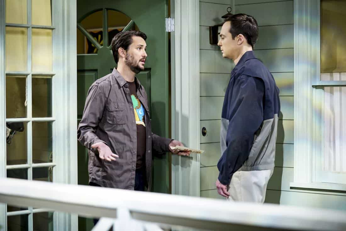 """The Proton Regeneration"" -- Pictured: Wil Wheaton (Himself) and Sheldon Cooper (Jim Parsons). Sheldon goes head-to-head with Wil Wheaton for the role of the new Professor Proton. Also, Penny steps in to take care of Halley when Bernadette and Wolowitz both wind up on bed rest, when THE BIG BANG THEORY moves to its regular time period, Thursday, Nov. 2 (8:00-8:31 PM, ET/PT), on the CBS Television Network. Photo: Sonja Flemming/CBS ©2017 CBS Broadcasting, Inc. All Rights Reserved."