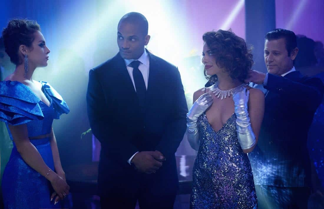 "Dynasty -- ""Guilt is for Insecure People"" -- Image Number: DYN103b_0074b.jpg -- Pictured (L-R): Elizabeth Gillies as Fallon, Nathalie Kelley as Cristal and Grant Show as Blake -- Photo: Bob Mahoney/The CW -- © 2017 The CW Network, LLC. All Rights Reserved."