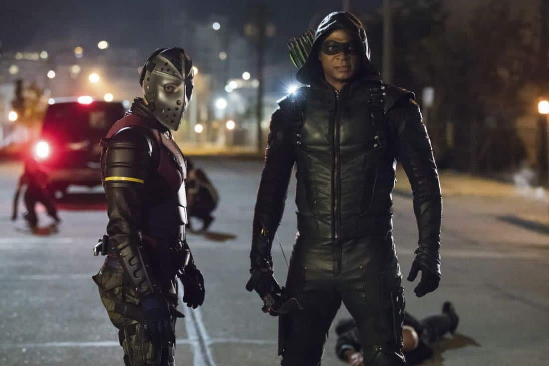 "Arrow -- ""Next of Kin"" -- Image AR603b_0222b -- Pictured (L-R): Rick Gonzalez as Rene Ramirez/Wild Dog and David Ramsey as Green Arrow -- Photo: Jack Rowand/The CW -- © 2017 The CW Network, LLC. All Rights Reserved."