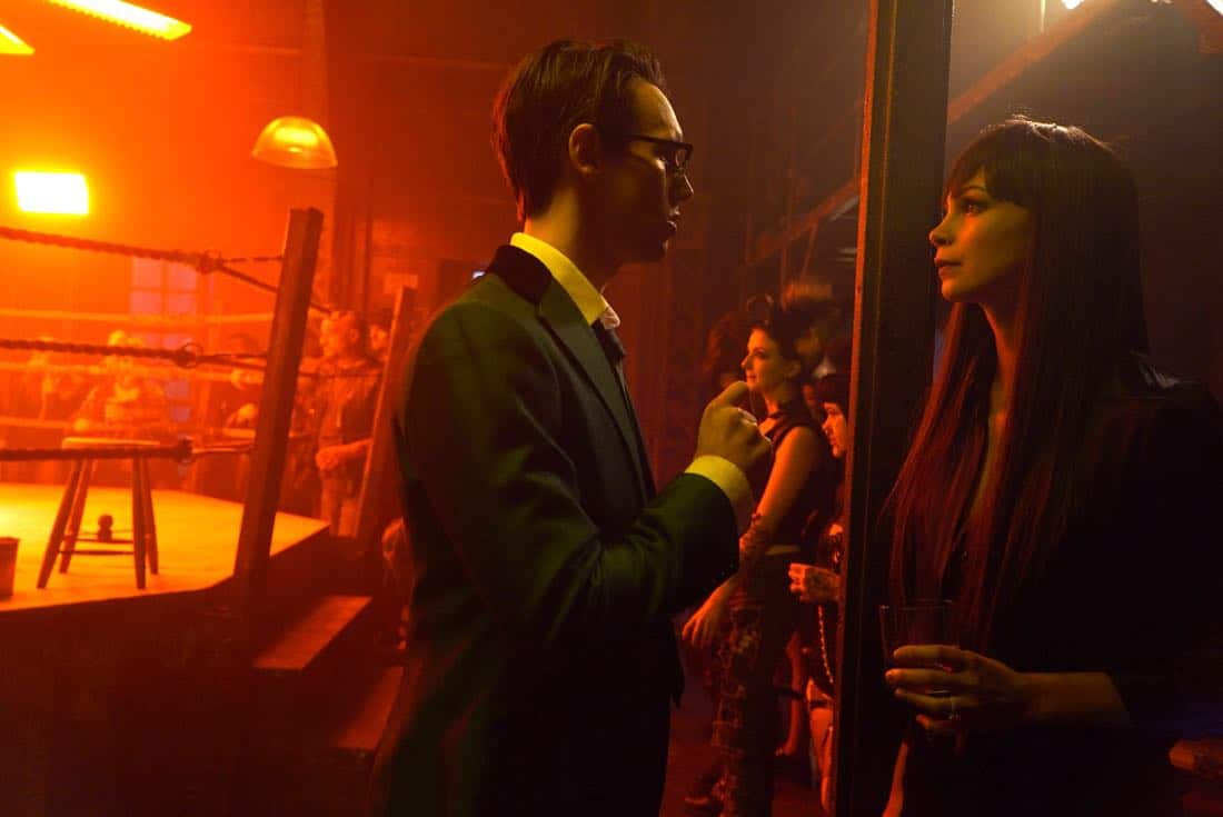 "GOTHAM: L-R: Cory Michael Smith and Morena Baccarin in the ""A Dark Knight: Hog Day Afternoon"" episode of GOTHAM airing Thursday, Oct. 26 (8:00-9:01 PM ET/PT) on FOX. ©2017 Fox Broadcasting Co. Cr: FOX."