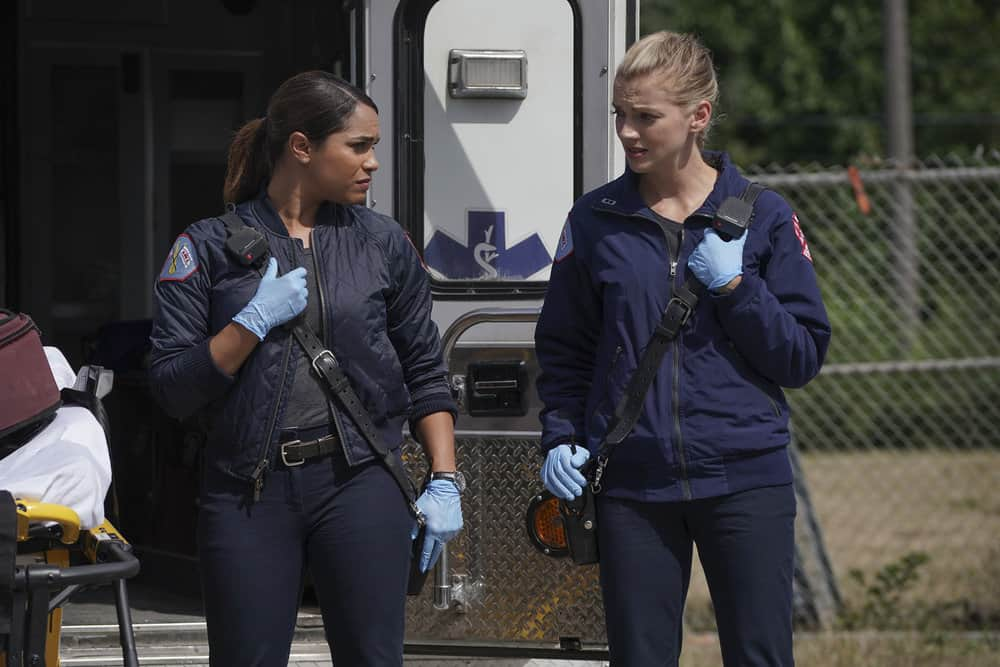 "CHICAGO FIRE -- ""Devil's Bargain"" Episode 605 -- Pictured: (l-r) Monica Raymund as Gabriela Dawson, Kara Killmer as Sylvie Brett -- (Photo by: Elizabeth Morris/NBC)"