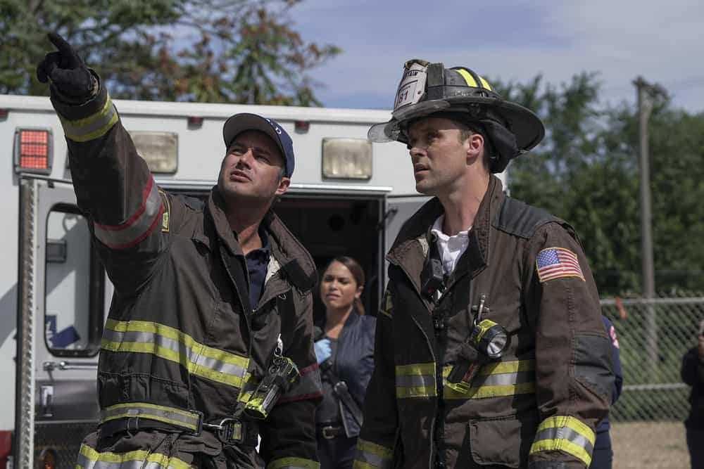 "CHICAGO FIRE -- ""Devil's Bargain"" Episode 605 -- Pictured: (l-r) Taylor Kinney as Kelly Severide, Jesse Spencer as Matthew Casey -- (Photo by: Elizabeth Morris/NBC)"