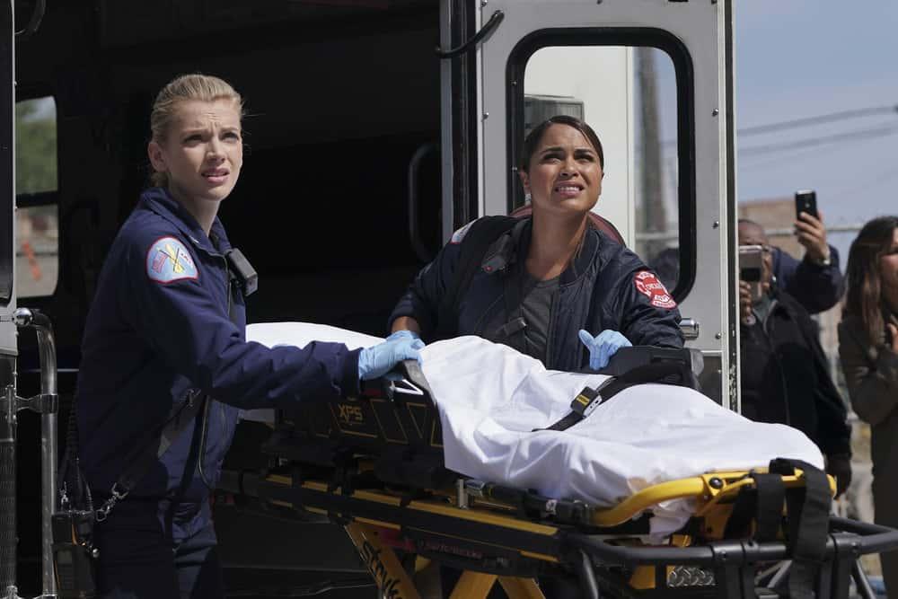 "CHICAGO FIRE -- ""Devil's Bargain"" Episode 605 -- Pictured: (l-r) Kara Killmer as Sylvie Brett, Monica Raymund as Gabriela Dawson -- (Photo by: Elizabeth Morris/NBC)"
