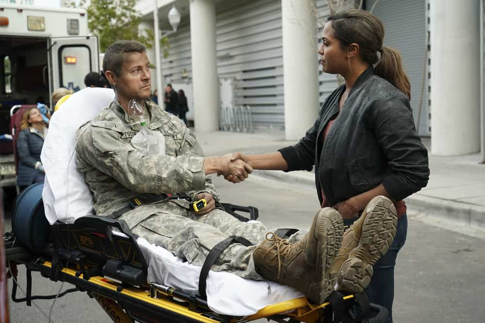 "CHICAGO FIRE -- ""A Breaking Point"" Episode 604 -- Pictured: (l-r) Dan Feuerriegel as Tucker, Monica Raymund as Gabriela Dawson -- (Photo by: Elizabeth Morris/NBC)"