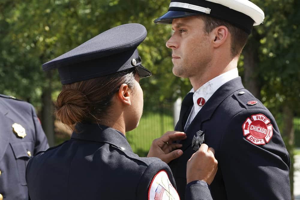 "CHICAGO FIRE -- ""A Breaking Point"" Episode 604 -- Pictured: (l-r) Monica Raymund as Gabriela Dawson, Jesse Spencer as Matthew Casey -- (Photo by: Elizabeth Morris/NBC)"