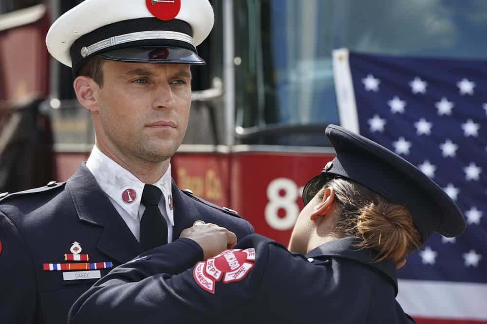 "CHICAGO FIRE -- ""A Breaking Point"" Episode 604 -- Pictured: (l-r) Jesse Spencer as Matthew Casey, Monica Raymund as Gabriela Dawson -- (Photo by: Elizabeth Morris/NBC)"
