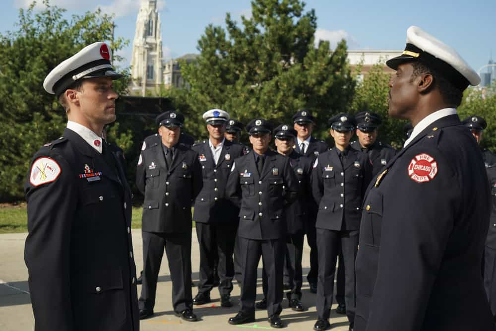 "CHICAGO FIRE -- ""A Breaking Point"" Episode 604 -- Pictured: (l-r) Jesse Spencer as Matthew Casey, Christian Stolte as Mouch, Taylor Kinney as Kelly Severide, David Eigenberg as Christopher Herrmann, Miranda Rae Mayo as Stella Kidd, Joe Minoso as Joe Cruz, Eamonn Walker as Wallace Boden -- (Photo by: Elizabeth Morris/NBC)"