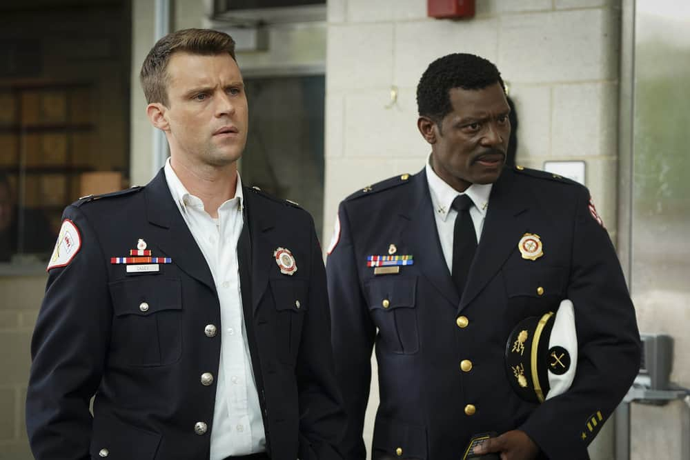 "CHICAGO FIRE -- ""A Breaking Point"" Episode 604 -- Pictured: (l-r) Jesse Spencer as Matthew Casey, Eamonn Walker as Wallace Boden -- (Photo by: Elizabeth Morris/NBC)"
