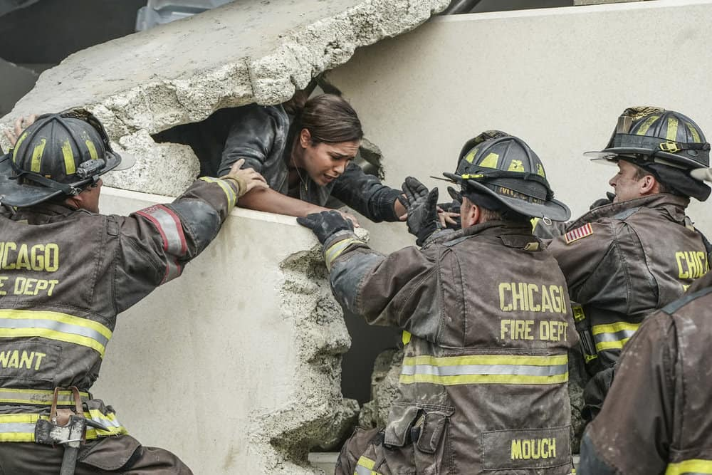 "CHICAGO FIRE -- ""A Breaking Point"" Episode 604 -- Pictured: (l-r) Monica Raymund as Gabriela Dawson, Christian Stolte as Mouch, Jesse Spencer as Matthew Casey -- (Photo by: Elizabeth Morris/NBC)"