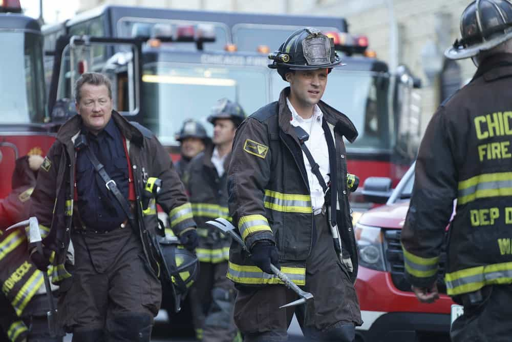 "CHICAGO FIRE -- ""A Breaking Point"" Episode 604 -- Pictured: (l-r) Christian Stolte as Mouch, Jesse Spencer as Matthew Casey -- (Photo by: Elizabeth Morris/NBC)"