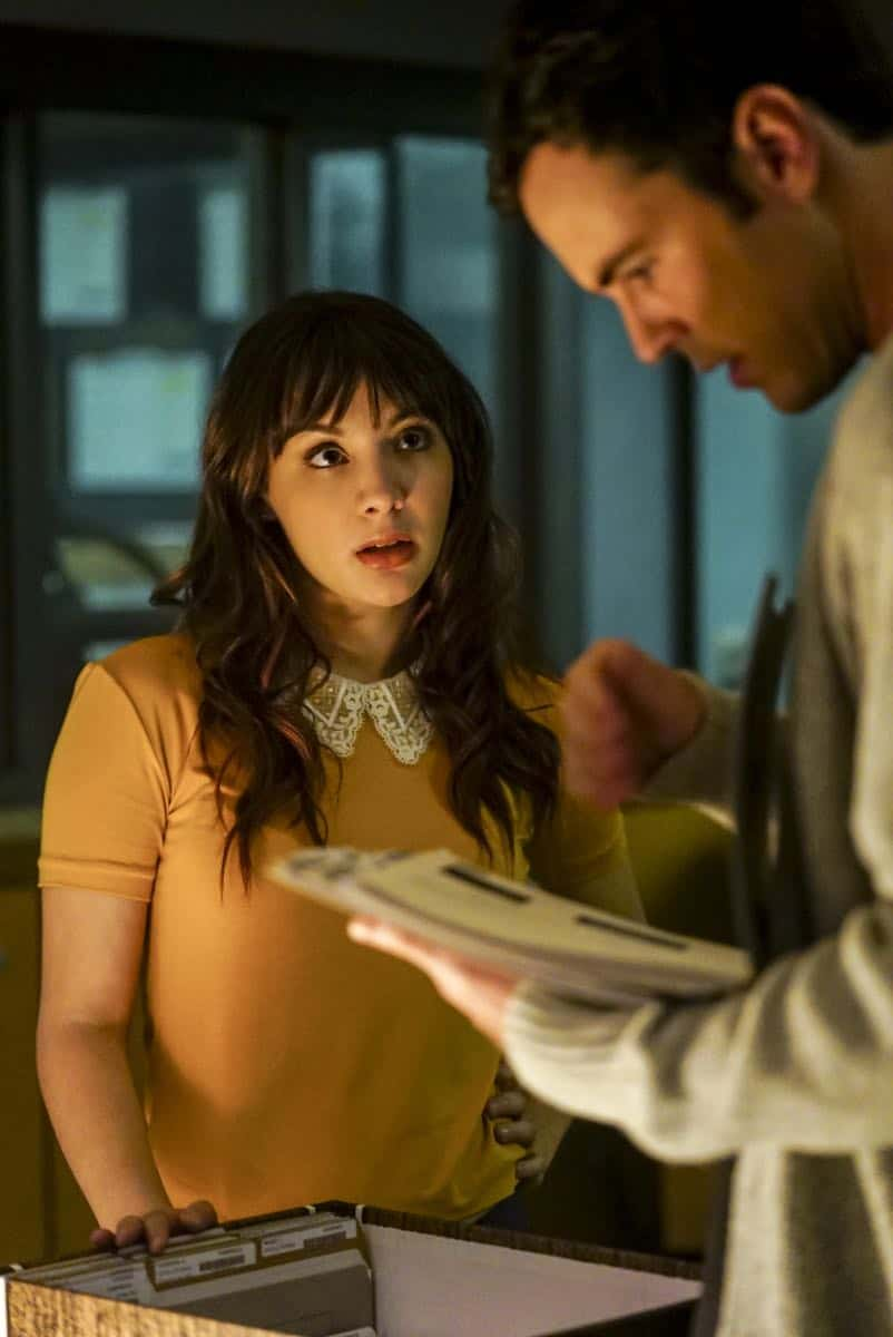 """Clear History"" -- Pictured: Hannah Marks as Prudence Shaw and Blake Lee as Josh Novak. Tanner's previous company claims Sophe was created using their copyrighted codes and legally threatens to shut down the organization.  Also, Cavanaugh works with Tanner to solve the murder of a retired detective after his boss removes him from the case due to a personal connection with the family, on WISDOM OF THE CROWD, Sunday, Oct. 29 (8:00-9:00 PM, ET/PT), on the CBS Television Network. Photo: Sonja Flemming/CBS ©2017 CBS Broadcasting, Inc. All Rights Reserved."