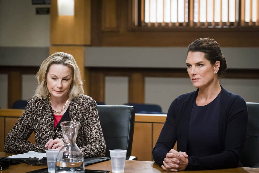 "LAW & ORDER: SPECIAL VICTIMS UNIT -- ""Complicated"" Episode 1905 -- Pictured: (l-r) Maureen Mueller as Counselor Daniella Janet, Brooke Shields as Sheila Porter -- (Photo by: Michael Parmelee/NBC)"