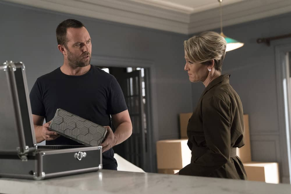 "BLINDSPOT -- ""Back to the Grind"" Episode 301 -- Pictured: (l-r) Sullivan Stapleton as Kurt Weller, Mary Stuart Masterson as Director Hirst -- (Photo by: Peter Kramer/NBC)"