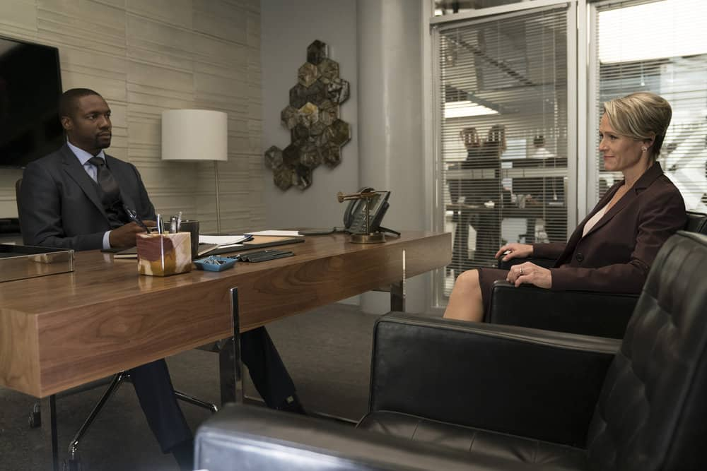 "BLINDSPOT -- ""Back to the Grind"" Episode 301 -- Pictured: (l-r) Rob Brown as Edgar Reade, Mary Stuart Masterson as Director Hirst -- (Photo by: Peter Kramer/NBC)"
