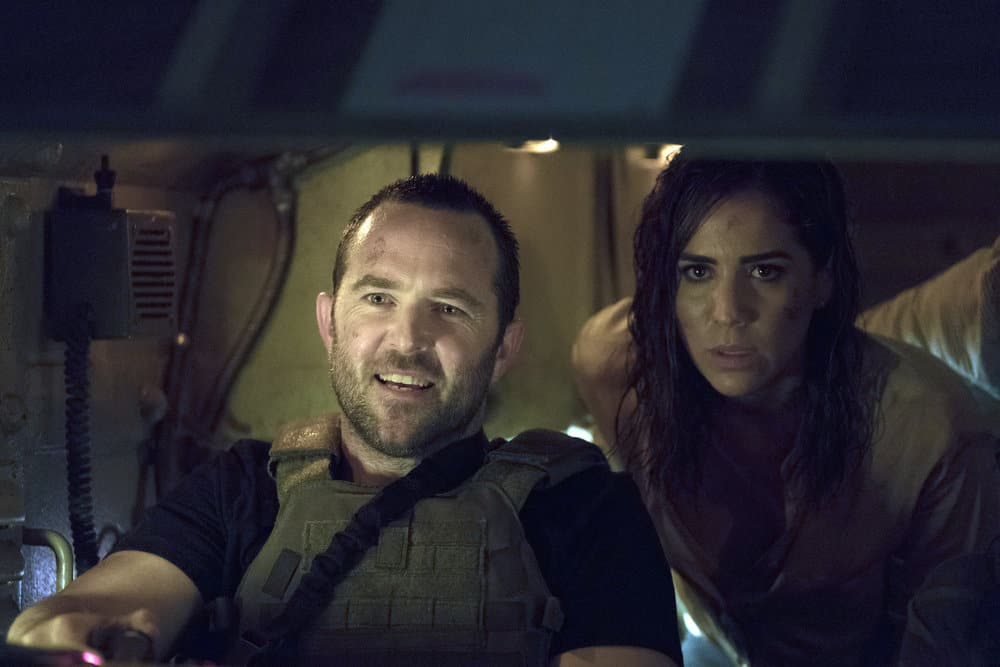 "BLINDSPOT -- ""Back to the Grind"" Episode 301 -- Pictured: (l-r) Sullivan Stapleton as Kurt Weller, Audrey Esparza as Tasha Zapata -- (Photo by: Peter Kramer/NBC)"