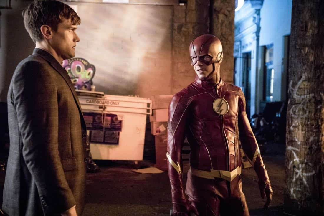 "The Flash -- ""Elongated Journey Into Night"" -- Image Number: FLA404a_0587b.jpg -- Pictured (L-R): Hartley Sawyer as Dibney and Grant Gustin as The Flash -- Photo: Jack Rowand/The CW -- © 2017 The CW Network, LLC. All rights reserved."